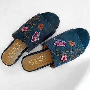 Nanette Lepore floral slides.